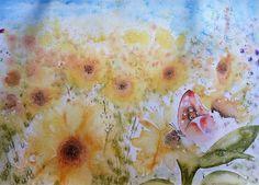 """Watercolors by Claudia: """"Campo di girasoli"""""""