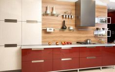 Kitchen Dazzling Modular Kitchen Furniture Come With Maroon And White Wooden High Gloss Kitchen Cabinet As Well As Glass Floating Shelves Plus Brown Wooden Laminated Backsplash Together With Stainless Steel Cook Hood And White Wooden Laminated Countertop Winsome Modular Kitchen Furniture Ideas