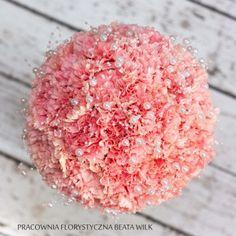 bukiet ślubny goździk róż pastelowy