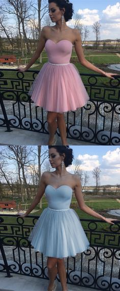 sweetheart homecoming dresses, tulle short prom dresses, simple homecoming dresses
