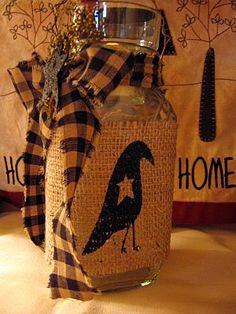 Burlap Wrapped Jars come in two styles Crow and Sheep.  Holds either a tea lite or votive.