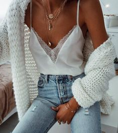 White Cami, High-Waisted Jeans, Oversized Cardi, Dainty Jewelry