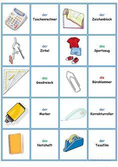 Games in German lessons: Memory – the school supplies - Spiel German Grammar, German Words, German Resources, Germany Language, German Language Learning, Learn German, Kids And Parenting, School Supplies, Diy For Kids