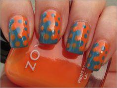 Color Opposites - Zoya Arizona (orange jelly) with Zoya Breezi  - design done using dotting tool