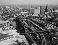 Picture shows aerial view of B Railroad, Camden Station, Baltimore, Maryland. Nice view of Baltimore from above, with skyline in the background Baltimore And Ohio Railroad, Baltimore City, Baltimore Maryland, Baltimore Orioles, Paris Skyline, New York Skyline, Camden Street, Camden Yards, Pictures Of People