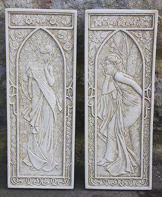 Set of art nouveau wall plaques