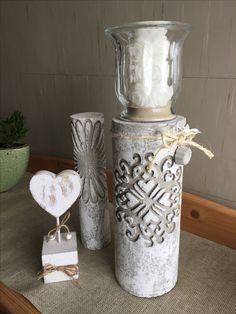 Betonsäule mit Glas mit weißer Rosenkerze - schönes Geschenk zur Hochzeit