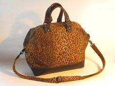 12 inch Leopard Print and Leather Mason Bag by pluckykid on Etsy, $145.00