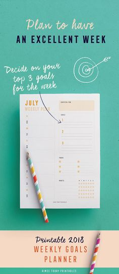 Keeping track of my top 3 goals! These weekly planner printables keep me organized and moving forward