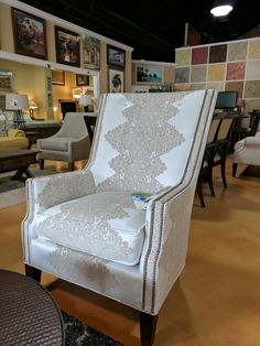 Shown in our My Pleasant Furniture store and available through our website Modern Coastal, Coastal Furniture, Furniture Styles, My Room, Accent Chairs, Armchair, Website, Store, Home Decor
