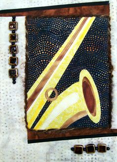 """For Quilts Sake - """"All That Jazz: Saxophone"""" Art Quilt Wall Hanging"""