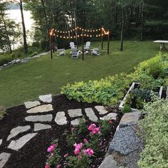 """666 Likes, 28 Comments - Caroline (@townandcountrystyle) on Instagram: """"Beautiful night. We had a GREAT dinner outside without rain  #firepit #adirondackchairs #outdoors…"""""""