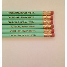 You're Like Really Pretty Pencil Set 6 Mint Green Haaaaay You're... ($8) ❤ liked on Polyvore featuring home, home decor, office accessories, grey, home & living, office, office & school supplies, coloured pencils, colored pencils and colored pencil sets