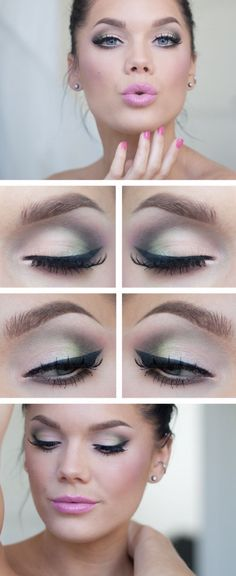 Get this gorgeous look on your eyes: Snow, Peridot, Ebony Essence, and Pink Frost ShadowSense. Eyes lined with Black EyeSense. On your lips: Army Pink LipSense now known as Peace Pink LipSense