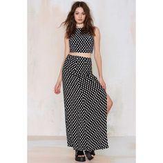 WYLDR Partition Maxi Skirt (£44) ❤ liked on Polyvore featuring skirts, polka, dot skirt, floor length skirt, black and white skirt, polka dot skirt and black white polka dot skirt
