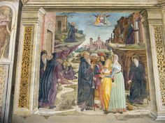 Milan (Italy) - Frescoes on the left wall of the Obiano Chapel in the Church of San Pietro in Gessate