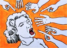 """I'm Not Touching You #379 (ARTIST TRADING CARD) 2.5"""" x 3.5"""" by Mike Kraus - art aceo atc face masks mouth nose eyes hands healthy fingers"""