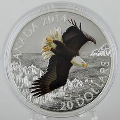 Canada 2014 $20 Bald Eagle Soaring over Northern Lake 1 oz Silver Color Proof