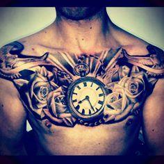 tattoo tauben uhr und rosen brust ink hals tattoo mann. Black Bedroom Furniture Sets. Home Design Ideas