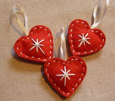 Set of Handmade Felt Christmas hearts Christmas Hearts, Christmas Makes, Christmas Fun, Christmas Projects, Felt Crafts, Holiday Crafts, Handmade Christmas Decorations, Felt Christmas Ornaments, Heart Decorations