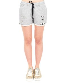 SHOP ART Grey cotton shorts with front tears drawstring waist two side pockets 100% CO