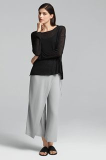 EILEEN FISHER Spring Icons Collection: Box Top + Silk Wrap Pant
