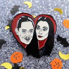 Gomez & Morticia Addams Family heart love enamel lapel pin. Badge spooky halloween Adams brooch hat pin button horror film black red creepy by ThreadFamous on Etsy https://www.etsy.com/listing/467072342/gomez-morticia-addams-family-heart-love
