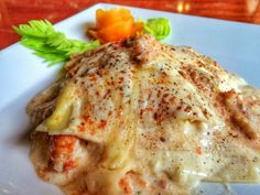 Lobster Lasagna recipe from Ian Anderson's Caves Branch in Belize!