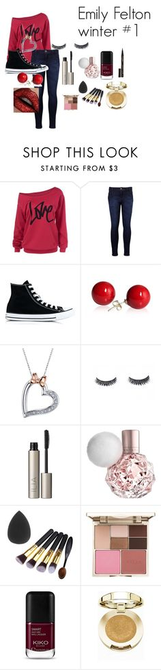 """""""Emily Felton winter #1"""" by slytherinchaser100 ❤ liked on Polyvore featuring Levi's, Converse, Disney, Ilia, Stila, Milani and Smith & Cult"""