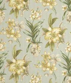 Robert Allen Ornate Flower Rain Fabric - $19.55 | onlinefabricstore.net on an office chair