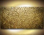 Original Art- Large Abstract Textured Bronze Gold Modern Palette Knife Painting Leaves Sculpture on 48x24 canvas - MADE TO ORDER. $385.00, via Etsy.
