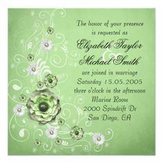 Luxury Elegant Green Dream Floral Wedding Invite