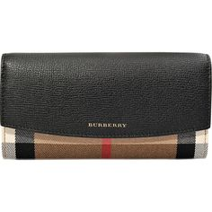 Burberry Porter wallet ($448) ❤ liked on Polyvore featuring bags, wallets, black, flap wallet, burberry, flap bag, burberry wallet and burberry bags