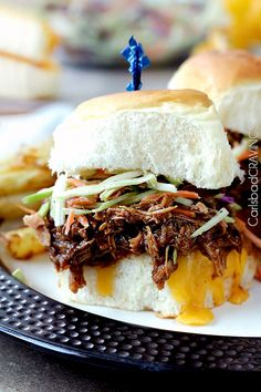 Broccoli Slaw for the ULTIMATE Easy, Cheesy BBQ Pork Sliders. Perfect ...