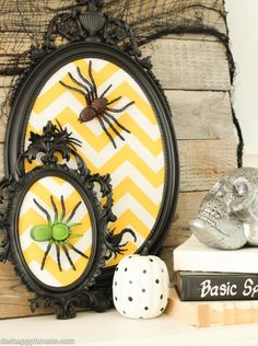 I love this fun black white and yellow Halloween Mantel with all kinds of DIY Halloween Decor projects at thehappyhousie.com-22