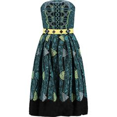 Peter Pilotto Kinetic printed cloqué dress (£578) ❤ liked on Polyvore featuring dresses, teal, loose fit dress, corset style dress, teal green dress, multi-color dress and peter pilotto