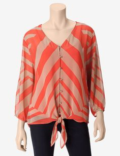 Halo Tie Front Chevron Layered-Look Top – Misses - Blouses | Stage Stores