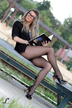 hot glasses, hotter legs #pantyhose #book #sexy