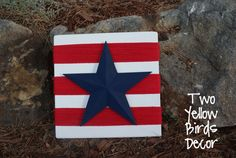Two Yellow Birds Decor: Star & Stripes Plaque. Has lots of texture to it using wood and yarn!!