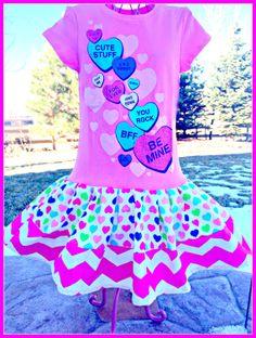 RTS girls My Valentine Valentines Day twirl by BlossomBlueBoutique, $36.99
