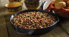 Turn Zatarain's Black Beans and Rice Mix into a one-skillet chili meal that the whole gang will love. Corn and red bell pepper add color and texture to create a flavorful dinner idea.
