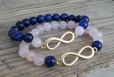 Lapis Lazuli Bracelet, Rose Quartz Bracelet, Bracelet Making, Bracelet Set, Jewelry Making, Couple Bracelets, Bracelets For Men, Beaded Jewelry, Beaded Bracelets