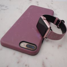Ready. Set. Blush. Blush Apple Watch Band in Vegan Leather and Blush Case for iPhone X, iPhone 8 Plus / 7 Plus & iPhone 8 / 7 with Apple Watch Band in 38mm and 42mm fitting first generation, series 1, series 2 & series 3 Apple Watch #blush #elementalcases #applewatch #iphonex #iphone8 #iphone8plus #set