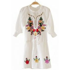 White Half Sleeve Drawstring Waist Embroidery Dress