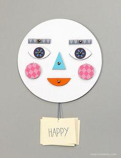 rosto de papelão para expressar sentimentos
