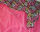 hot pink minky and bright flowers baby blanket