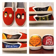 Fall Out Boy shoes by PrettyOddArt on Etsy I want these!!!!!
