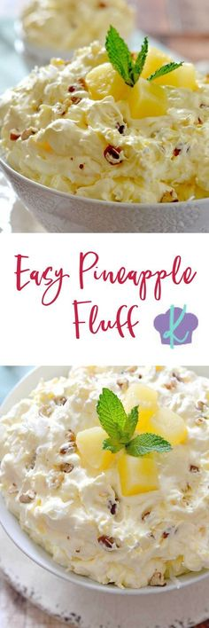 With only a few ingredients, this light and creamy Easy Pineapple Fluff comes together in just a few minutes and is the perfect dessert for spring! Pineapple Dessert Recipes, Pineapple Fluff, Fluff Recipe, Dairy Queen, Ice Cream Cookie Sandwich, Jell O, Ice Cream Desserts, Weight Watchers Meals, Instant Pudding Mix