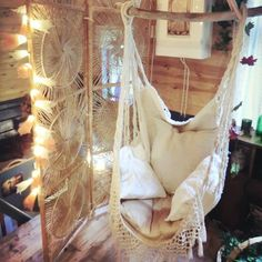 Hanging hammock chair with macrame solid color swing chair
