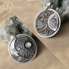 Made to order. Ready to ship in 2 days.    Two sided Sun&Moon pendant made of fine silver, sterling silver, 22K gold (accents on the Sun side) and a